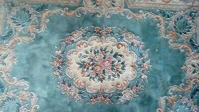 Grand Tapis de Salon ou Bureau Ancien en Laine Decor Floral