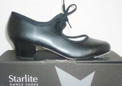 STARLITE black ladies PU tap dance shoes low cuban heel UK 4.5 unworn