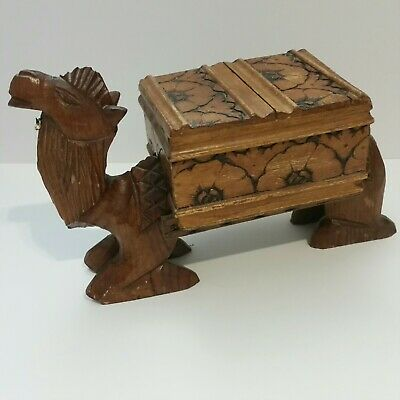 Vintage Hand Carved Wood Camel Figurine Statue with Trinket Box 8.5x13 inches