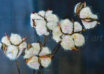 Cotton Ball Flowers Aceo Print from Painting, 2.5x3.5 Mini Tiny Artwork signed