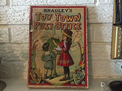 Rare Antique Boxed Milton Bradley's Toy Town Post Office circa 1910 child's game