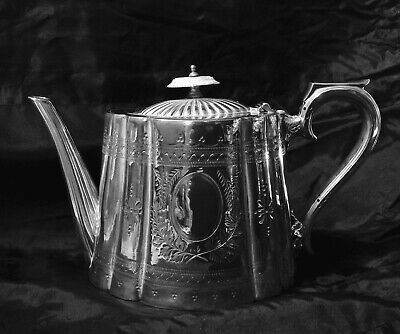 Antique Georgian English Silver Plated EPNS Tea Pot, Chased Pointwork Decoration