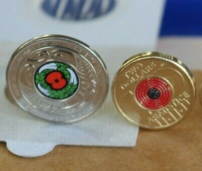 colour COINS 100 years of repatriation $2 dollar and 2018 NZ Armistice 50 cent