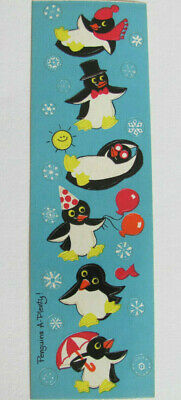 Rare Vintage Sandylion Kromekote Penguin Party a Plenty Sticker Strip