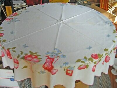 """Vintage Luther Travis White Linen Fruits Flowers Table Cloth ~ 72"""" Round ~"""