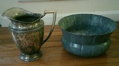 Wm Rogers water Pitcher Silver Plate Art Deco pattern  & Galv. Planter (b09)