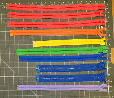 Lot of 60+ Various Colors, Various Sizes Unused Plastic Molded & Coiled Zippers