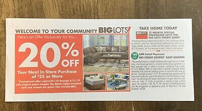 BIG LOTS 20% Off Your Next In Store Purchase $25 Or More Exp 8/31/19