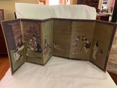 "Asian/Japanese Minig Panel Folding Screen 12"" H"