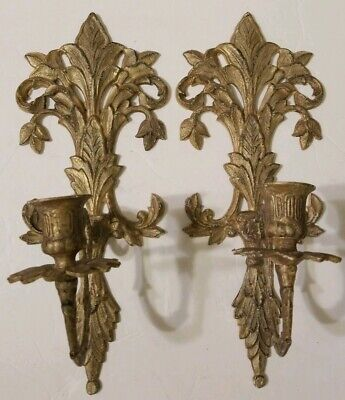 Pair Of Antique Gold Metallic Fleur De Lis Sconces