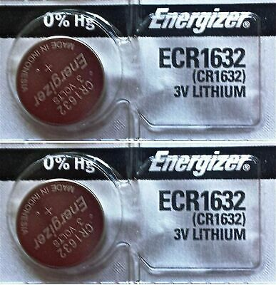 2 Piece FRESH ENERGIZER CR1632 ECR1632 1632 3V Lithium Coin Battery