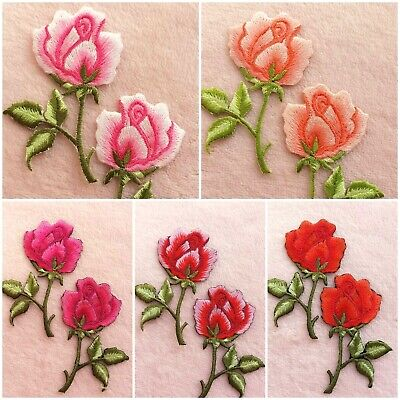 Patches Iron-On Sewing Trims Embellishment Crafts DIY Applique Motif Rose Decal