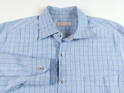 4e314dfa ERMENEGILDO ZEGNA MENS Plaid Cotton Linen Blend Button Front Shirt XXL Blue
