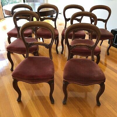 Antique Balloon Back Dining Chairs - Set of 8