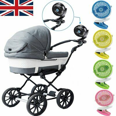 Stroller Fan Portable Baby Mini Safety Clip On Pushchair Pram Cot Battery+USB