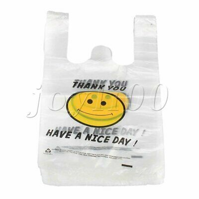 Plastic Grocery Shopping Checkout Carry Bags W30xL48cm Set of 100 White