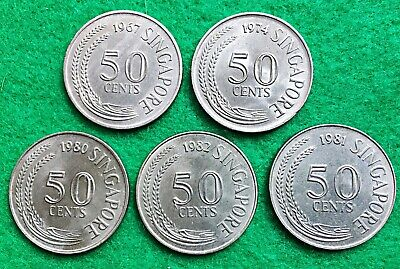 SINGAPORE:- 5 different date late 20th century circulation 50 cent coins. AP7615