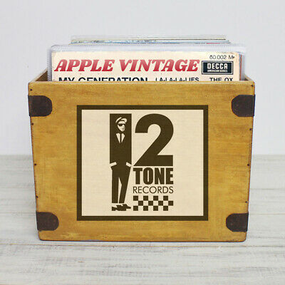 "2 Tone Record Box Large 80 Album Crate 12"" Vintage Vinyl Ska Madness Specials"