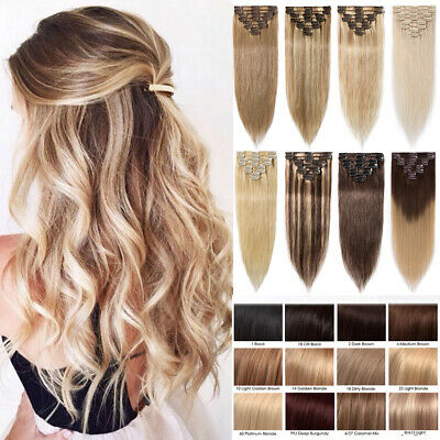 Clip In 8Pcs 100 Real Remy Human Hair Extensions Full Head Ombre Blonde Brown Z9
