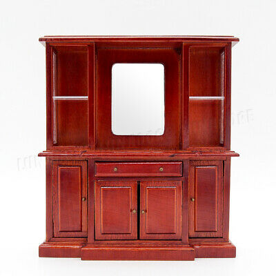 1:12 Miniature Wooden Dresser with Mirror & Drawers Closet Furniture Dollhouse