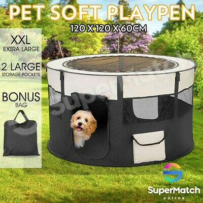 Portable Soft Pet Playpen Dog Cat Puppy Play Round Crate Cage Tent Travel XXL