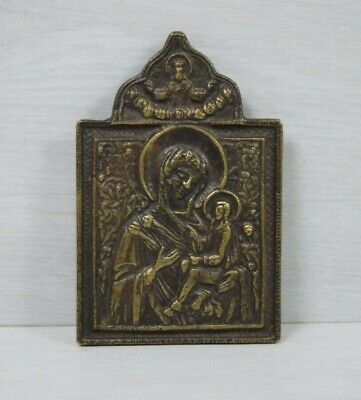 Antique Brass Russian Icon 1878 Virgin Mary Holding Christ Angel on Top 19 Cen