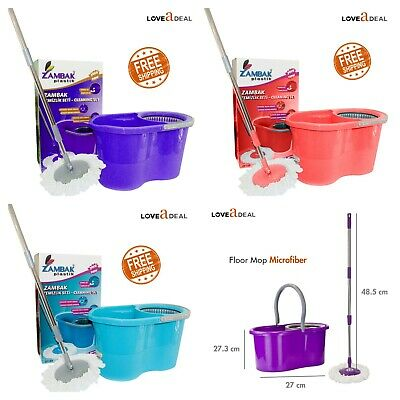Home Cleaning Spinning 360° Rotating Mop Bucket Floor Cleaner Red Blue Purple