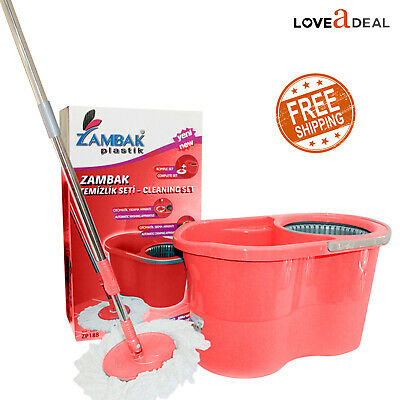 360° Spin Home Cleaning Rotating Mop Bucket Set Floor Magic Cleaner Dry Head Red