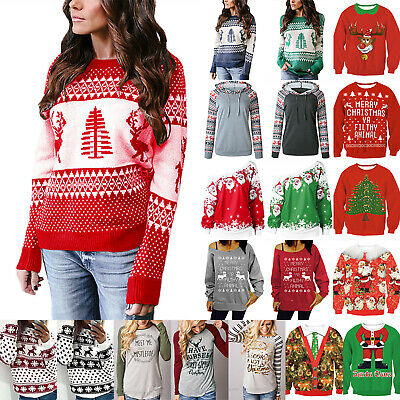 Winter Womens Christmas Jumper Reindeer And Snowflake Xmas Sweater Pullover Tops