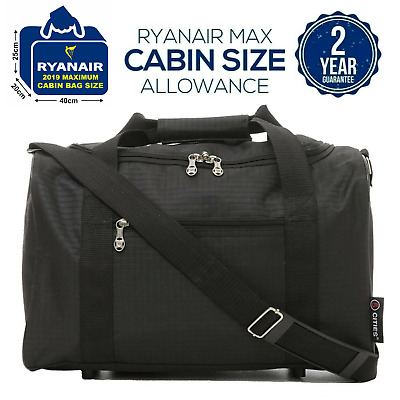 5 Cities New 2019 Ryanair 40x20x25 Max Size Cabin Carry on Holdall Bag Black
