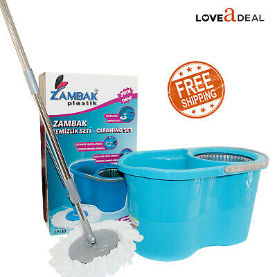 Home Wash Dry Flat Mop Bucket All Floor Water Tile Cleaning System Mop Head Pads