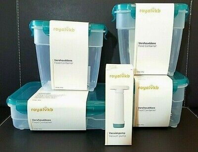 Royal Vkb Coles Food Containers *Brand New - 4 Containers & 1 Vacuum Pump