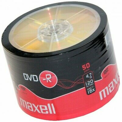 50 DVD-R Maxell 4,7GB Shrink 50 16X 120 Minuti Vergini Vuoti dvd -R Box 275732