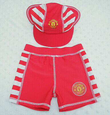 Manchester United FC Boys Infant Sun Hat & Swimming Shorts Set Age 6-9 Months