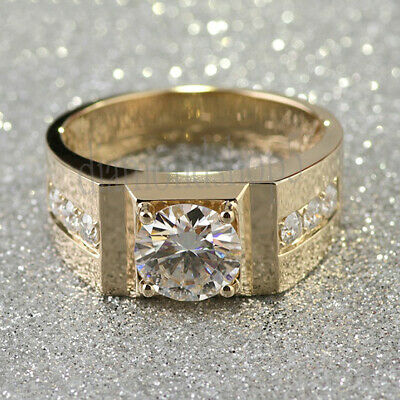 1.20 Ct Near White Round Real Moissanite Yellow Gold Over Mens Engagement Ring 7