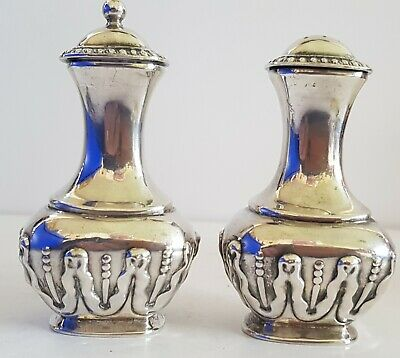 VINTAGE SILVER PLATED SALT & PEPPER CELLARS by Hart, Sheffield.