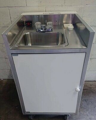 Commercial Self Contained Mobile Sink With Pump ,Grey,Clean & Hot Water Tanks