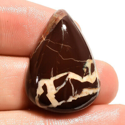 35.3 Ct Natural Brown Zebra Jasper Pear Cabochon Loose Gemstone 28X21X8 mm JM810