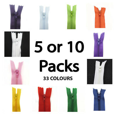 No.3 CLOSED END 8 INCH NYLON ZIPS *34 COLOURS* PACK OF 5 or 10 HABERDASHERY SEW