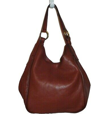 3228c98ee FRYE LEATHER SIDE Pocket Hobo Cognac Brown Shoulder Bag Tote 34DB323 ...