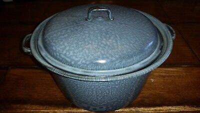 Vintage Antique 1800's Gray Agate speckled enamelware graniteware pot with lid