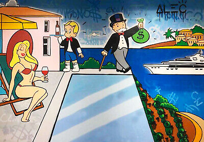 """Alec Monopoly Oil Painting on Canvas graffiti art Decor ,""""Yacht Life"""" 24×32inch"""