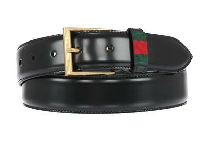 4aa12dd6a AUTHENTIC GUCCI GREEN and Red Web Belt with Plaque Buckle Unisex ...