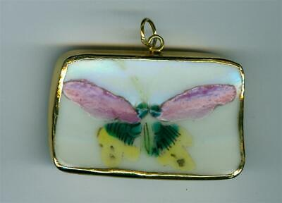 Early 20Th Century Chinese Porcelain Nickel Goldplated Pendant Butterfly