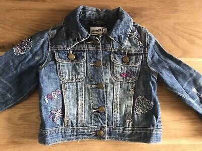 Gap Girls Floral Denim Jacket Age 2 Immaculate Condition