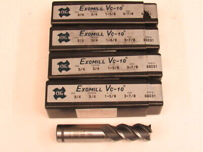 Lot Of Four - 3/4 Powdered Metal - 3 Flute - 50 Degree Helix - Osg Endmill Japan