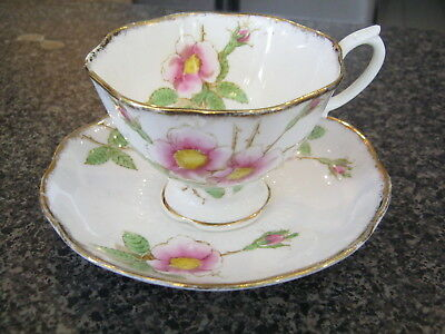 ROYAL ALBERT TEACUP CUP SAUCER WILD ROSE PATTERN  Vintage 1930s