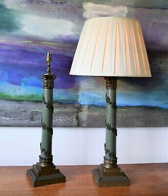 A Pair of Large Regency Style Corinthian Column Brass Hall Side Table Lamps