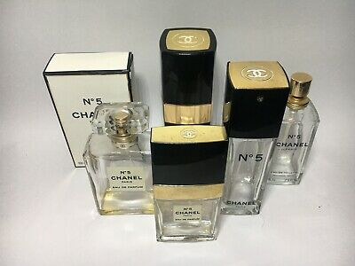 Bulk Lot Of 5 Empty Chanel No.5 Perfume Bottles & 1980s Refillable Dispenser