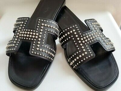 cafff877ea86 NEW Hermes Oran H Sandals Slippers 39 9 Black Logo Leather Flats Shoes  Studded